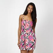 Pink aztec print shirred dress