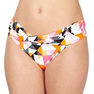 Designer pink triangle print twist front bikini bottoms