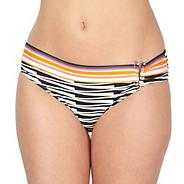 Designer black V metal bar bikini bottoms