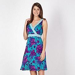 Beach Collection - Green tropical geometric print jersey beach dress