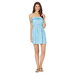 Beach Collection - Blue printed lace dress
