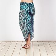 Green ikat geometric print sarong