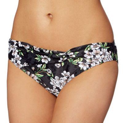 Beach Collection Black blossom print twist front bikini bottoms - . -