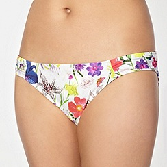Reger by Janet Reger - Designer white bright floral bikini bottoms