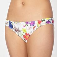 Designer white bright floral bikini bottoms