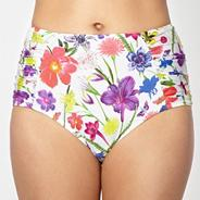 Designer white bright floral high waisted bikini bottoms