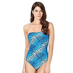 Beach Collection - Blue animal print bandeau swimsuit