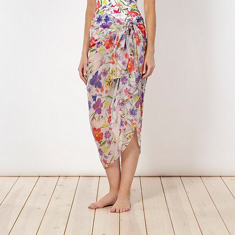 Reger by Janet Reger - Designer white pressed flower print sarong