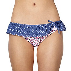 Ultimate Beach - White floral ditsy frill bikini bottoms