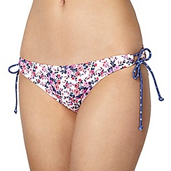 Ultimate Beach - White floral ditsy loop side bikini bottoms