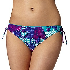 Beach Collection - Green tropical geometric print ruched bikini bottoms