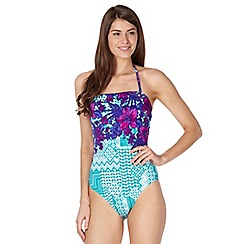 Beach Collection - Green tropical geometric print tummy control swimsuit