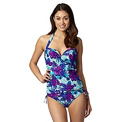 Beach Collection - Green tropical geometric print underwired tankini top