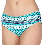 Green ikat geometric fold over bikini bottoms