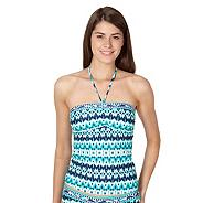 Green ikat geometric bandeau tankini top