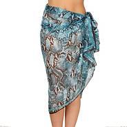 Blue chiffon snake print sarong