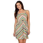 Green shirred tribal printed strap dress