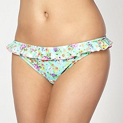 Floozie by Frost French - Aqua floral heart frill bikini bottoms