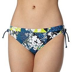 Beach Collection - Turquoise patchwork floral ruched tie bikini bottoms