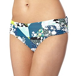 Beach Collection - Turquoise patchwork floral folded bikini bottoms