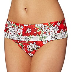 Beach Collection - Red blossom folded bikini bottoms