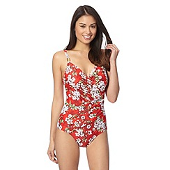 Beach Collection - Red floral tummy controldrape swimsuit