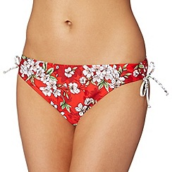Beach Collection - Red blossom print bikini bottoms
