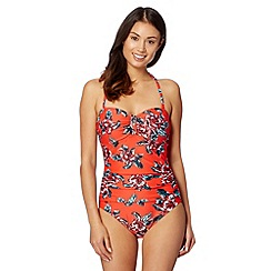 Beach Collection - Red floral ruched tummy control swimsuit