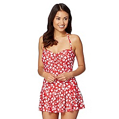 Beach Collection - Red floral skirted tummy control swimsuit