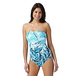 Beach Collection - Aqua jungle leaf tummy control swim suit