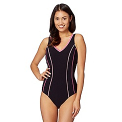 Beach Collection - Black piped edge tummy control swimsuit