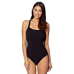 Beach Collection - Black racer back tummy control swimsuit