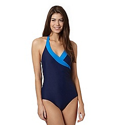Beach Collection - Navy tummy control halter neck swimsuit