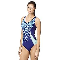 Maine New England - Blue geometric V neck swimsuit