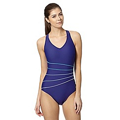 Maine New England - Blue panel striped swimsuit