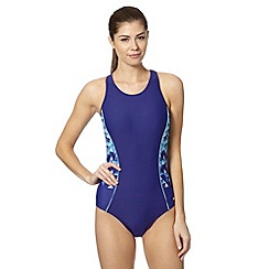Maine New England - Blue geometric panel high neck swimsuit