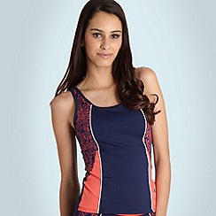 Maine New England - Navy printed panel tankini top