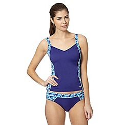 Maine New England - Blue geometric panel V neck tankini top