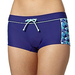 Maine New England - Blue geometric panel bikini shorts