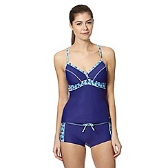 Maine New England - Blue geometric trim moulded cup tankini top