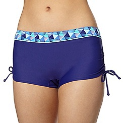 Maine New England - Blue geometric waist ruched side bikini shorts