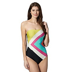 Principles by Ben de Lisi - Designer black striped tummy control mix ruched swim suit
