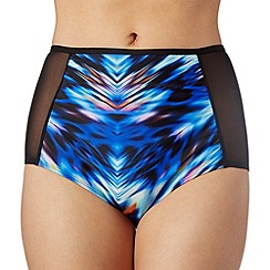 Butterfly by Matthew Williamson - Designer blue ikat high waisted bikini bottoms
