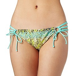 Butterfly by Matthew Williamson - Designer lime reptile knot side bikini bottoms
