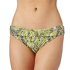 Butterfly by Matthew Williamson - Designer lime reptile folded waist bikini bottoms