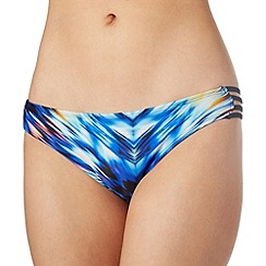 Butterfly by Matthew Williamson - Designer blue ikat cutout side bikini bottoms