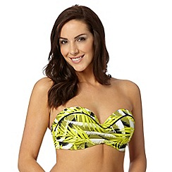 Gorgeous DD+ - Yellow palm print underwired bikini top