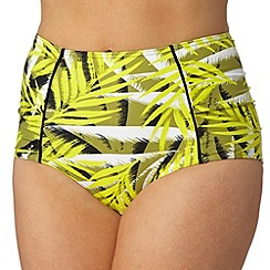 Gorgeous DD+ - Yellow palm print high waisted bikini bottoms