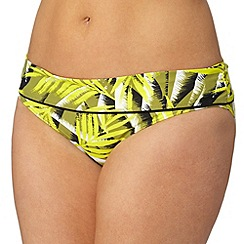 Gorgeous DD+ - Yellow palm print hipster bikini botom