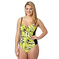 Gorgeous DD+ - Yellow palm print tummy control underwired swimsuit